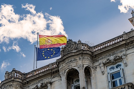 flags of spain and the european