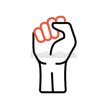 fist raised up
