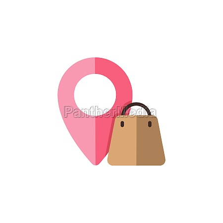 location shopping bag flat color icon