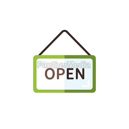 open notice label with text flat