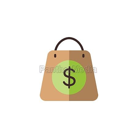 shopping bag dollar sign flat color
