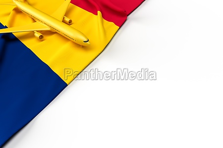passenger airplane and flag of chad