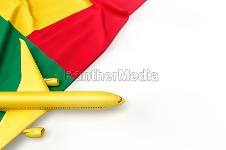 passenger airplane and flag of benin