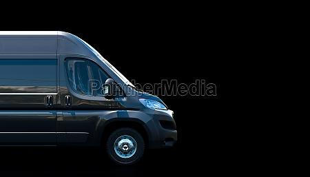 black van on a dark background