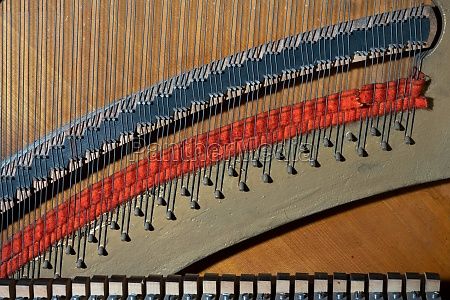 details of strings of a piano