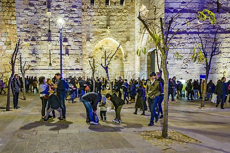 exterior wall old jerusalem city night