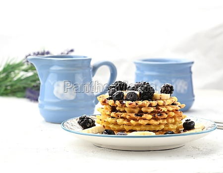 stack of baked belgian waffles on