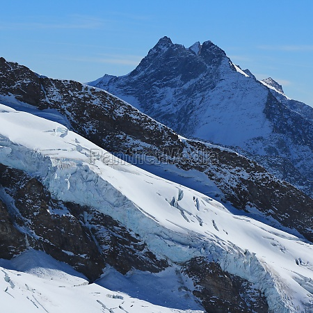 high mountain and glacier view from