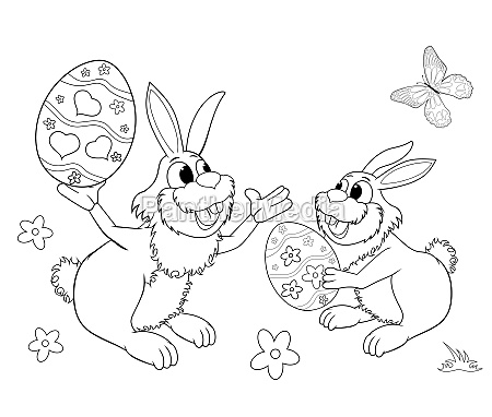 easter bunnies sketch for coloring