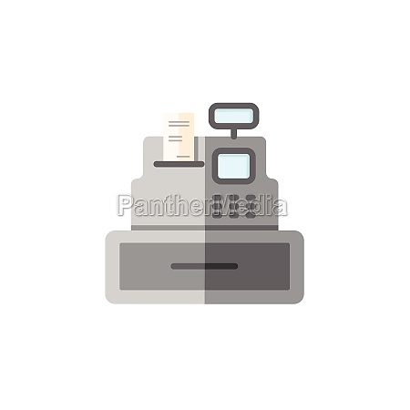 cash register cashier machine flat color