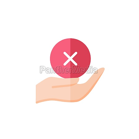 hand hold cross mark flat color