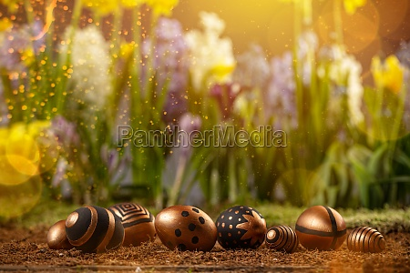 gold and black colored easter eggs