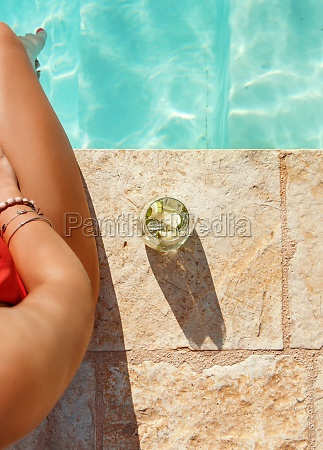 young woman in red swimsuit with