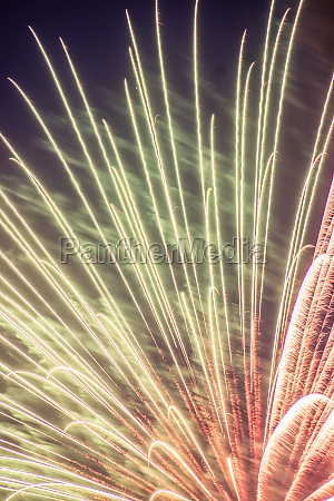the moment of explosion of fireworks
