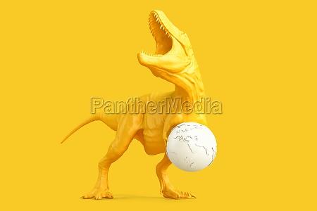 tyrannosaurus with earth globe 3d rendering