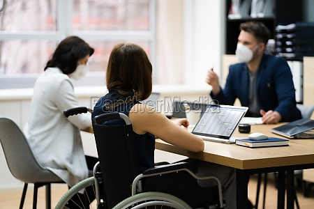 diverse disabled business worker people