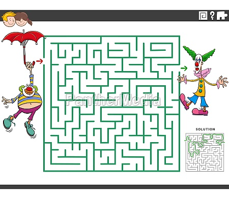 maze educational game with cartoon clowns