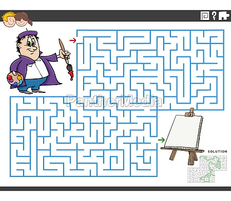 maze educational game with cartoon painter
