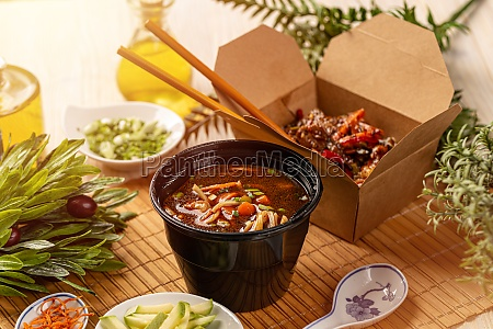 chinese food in boxes