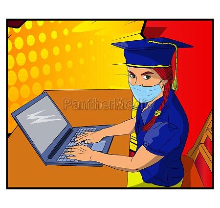 online virtual graduation girls wearing face
