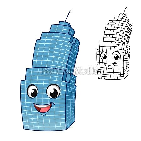 cute happy skyscraper with line art