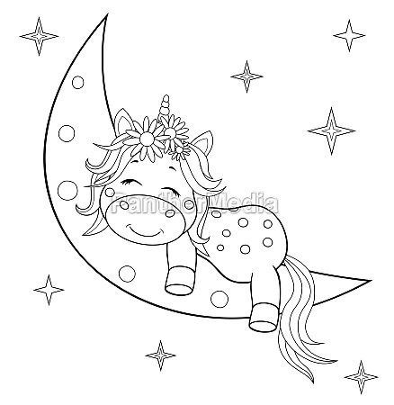 unicorn baby on the moon coloring