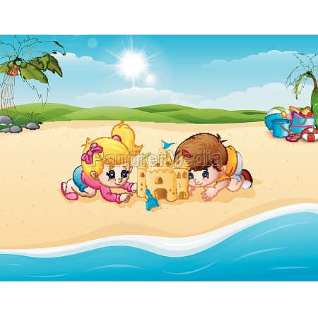 kids making sand castle at the