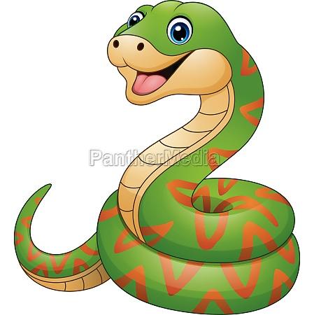 vector illustration of green snake cartoon