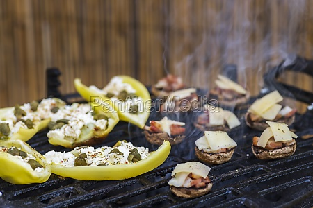 grilled peppers with feta cheese and