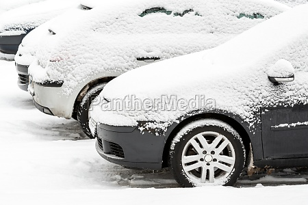 cars outdoor with snow covered