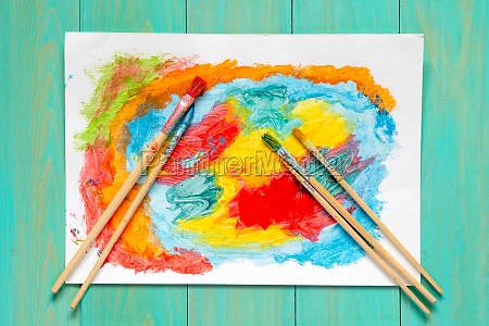 watercolor brushes and watercolor painting
