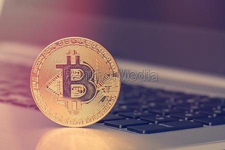 bitcoin on the computer keyboard