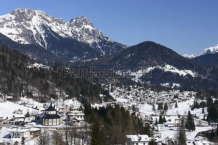 falcade winter landscape dolomites
