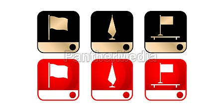 three icon flag models set with