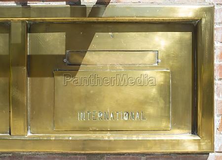 post office golden brass mailbox