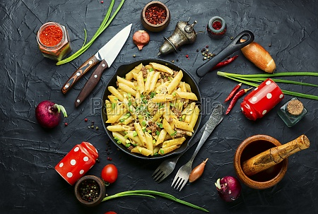 appetizing pasta with minced meat