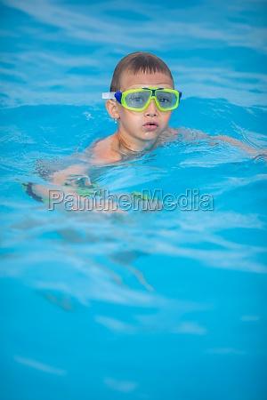 cute little boy in a swimming