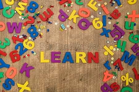 plastic letters spelling the word learn
