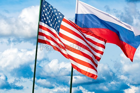 flags of the usa and russia