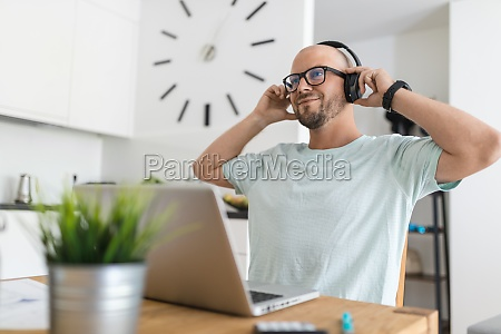 man working from home during the