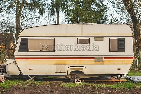 abandoned vintage caravan