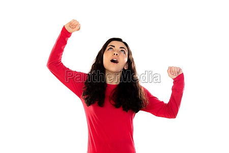 adorable teenage girl with red sweater