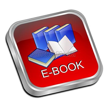 e book button red 3d