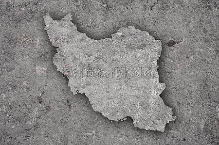 map of iran on weathered concrete