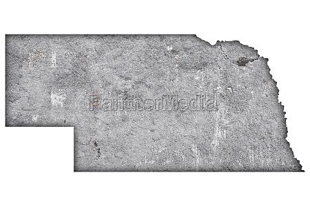 map of nebraska on weathered concrete