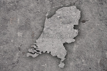 map of netherlands on weathered concrete