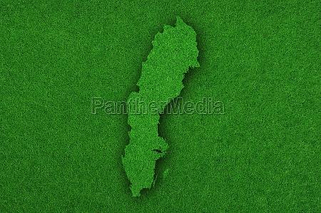 map of sweden on green felt