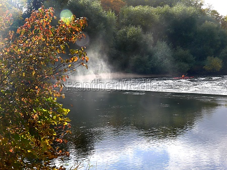 leine river in the autumn in