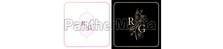 rg or gr monogram with orchid