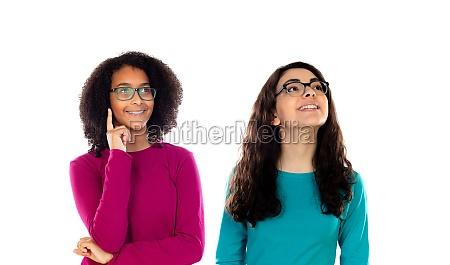 two cheerful women friends girls